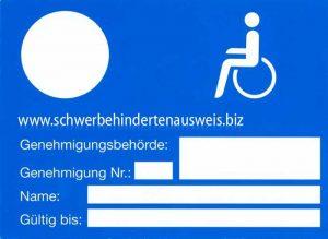Parkausweis für Schwerbehinderte