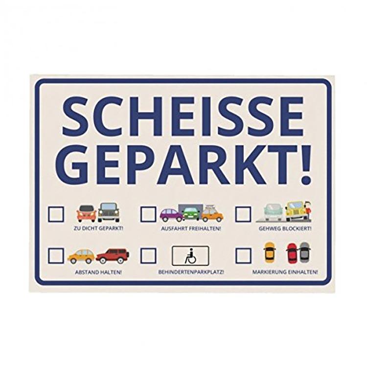 scheisse geparkt - parkaffe - kampf gegen falschparker